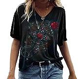 Camiseta Divertida con Estampado de Calavera y Rosas para Mujer Camiseta con Estampado Lindo con Cuello en V y Manga Corta