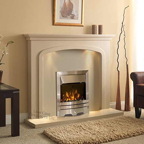 Electric Cream Beige Stone Effect Silver Flame Fire Wall Surround LED Fireplace Suite Lights Spotlights 48