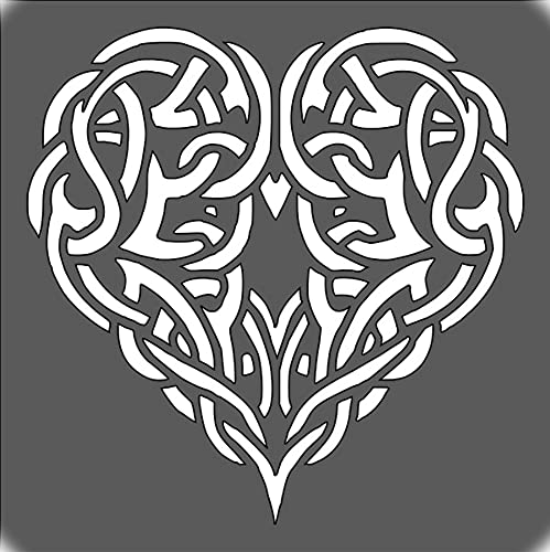 Celtic Heart Knot Stencil 5.5 x 5.5 inch Custom Cut Plastic Art Craft Reusable Template Logo for Scrapbooking Wall Wood Glass Painting