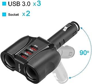 Rocketek 2-Socket 3-Port QC 3.0 Car Charger Cigarette Lighter Splitter, 90W 12V/24V DC Outlet Multi Socket Car Cigarette Lighter Adapter Support up to Cellphone/Nintendo Switch/Tablet/GPS/DashCam etc