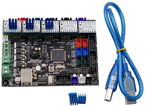 Mukuai54 5pcs TMC2208 V1.0 Stepper Driver del motore compatibile + MKS-GEN L V1.0 Controller integrato Ramps1.4 / mega2560 R3 per moduli driver della stampante 3D industriali industriali .Fai da te