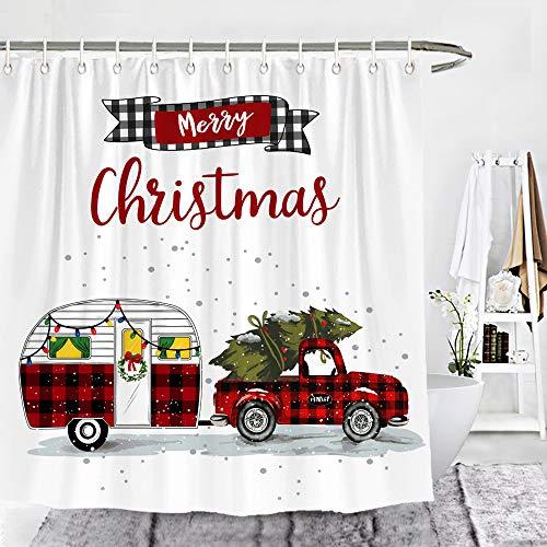 Wencal Merry Christmas Red Buffalo Check Plaid Truck Camper Trailer Shower Curtain Xmas Vintage Farmhouse Bathroom Decor 72 x 72 Inches