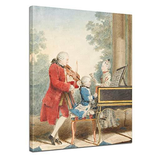 Keilrahmenbild Mozart Familienportrait - 90x120cm hochkant - Leinwandbild Kunstdruck Bild auf Leinwand Gemälde - Berühmtheiten & Zeitgeschichte