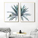 Impresión de Lienzo Mural HD Cactus Fresco Aloe Vera Arte de la Lona Impresión HD Carteles de Pared suculentos Cuadros de Pintura Minimalista para la decoración del hogar de la Sala de Estar