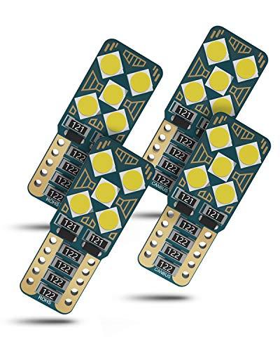 Wayrank 4 pezzi W5W T10 LED Lampadine con Canbus, Auto Interno Lampadine, Auto Targa Lampade, Luce di Parcheggio, 555 501 558 2825 175 192 168 194, 3030SMD, 12V, 6000K, bianco