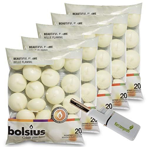DecoLite: 100 Schwimmkerzen von Bolsius mit 4,5h Brenndauer & 1 Kerzenprofi Stabfeuerzeug - (Elfenbein)