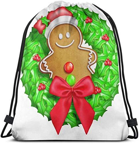 Bolsa de deporte de dibujos animados de Navidad con Gingerbread Man Gym Bag para mujeres y hombres, mochila con cordón con bolsillos impermeable de nailon bolsa grande