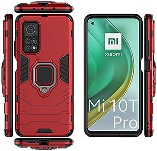 غطاء حماية صلب لجهاز Xiaomi Mi 10T/Mi 10T Pro 5G TPU مع حامل حلقة إصبع - أحمر