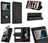 Hidashopp Coque Huawei P9 Lite Noir, étui Housse Cover Flip pour Une Protection...