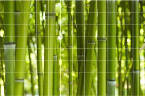 Graz Design 761203_15x15_120 - Adesivo decorativo da parete, ideale per parete da bagno, motivo: bambù, 15 x 15 cm, per 12 x 8 piastrelle (L x A), colore: verde