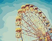 子供のための油絵デジタルペイント DIY絵画フィギュア ギフ家の壁アート落書き装飾 40x249cm フレームレスハッピーフェリスホイール