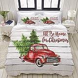 Funda nórdica, Feliz Navidad Bolas Coloridas de Navidad con Pino Abeto Camión Retro Rojo Coche con Copo de Nieve Árbol de Navidad en Madera rústica, Juego de Cama Funda de edredón (3 Piezas)