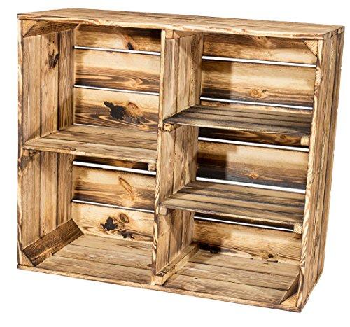 Vintage-Möbel24 GmbH GEFLAMMTER HOLZSCHRANK mit 3 MITTELBRETTER und TRENNBRETT 77X68X35CM, Holzschrank, Schrank, Regal,Holzregal, Obstkisten,Weinkiste,Apfelkiste