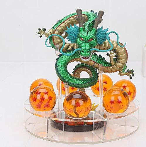 M C S Figura Dragon Shenron PVC Dragon Ball Z (Verde Metalizado) + 7 Bolas de Dragon 3,5 cm diametro + Estante Expositor DBZ Figura Coleccion Goku Dragon Ball Super Espectacular Akira