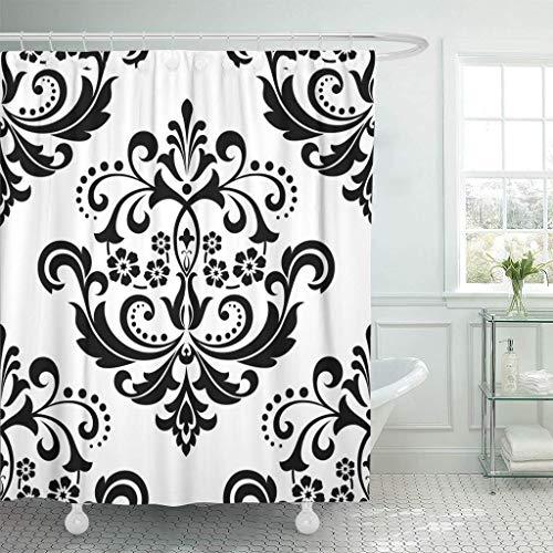 Abaysto Barock-Damast-Blumenmuster, königliche Blumen auf Schwarz & Weiß, Antik-Gothic-Badezimmerdekor, Duschvorhang-Sets mit Haken, Polyester-Stoff, tolles Geschenk