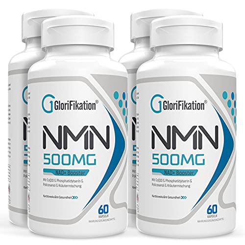 NMN Supplement 500mg | Advanced NMN formula with 100mg Coenzyme Q10, 80mg Phosphatidylserine, 20mg Policosanol and 50mg Herb Blend | 750mg Per Capsule | NAD+ Booster for Anti Aging| 240 Count Capsules