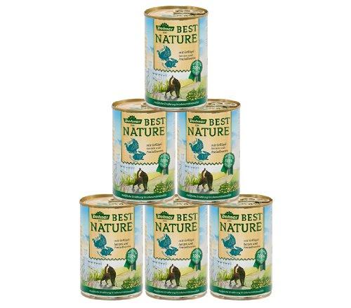 Dehner Best Nature Katzenfutter, Adult Geflügelherzen und Kaninchen, 6 x 400 g (2.4 kg)