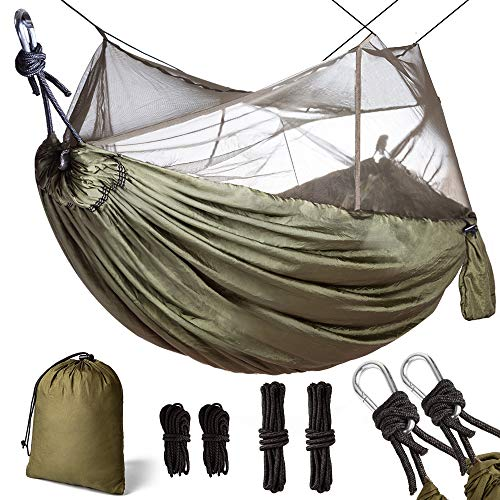 Double & Single Camping Hammock with Mosquito Net Portable Lightweight Nylon Parachute Fabric with Hammock & Net Rope, Steel Carabiners for Outdoor Park Beach Backpacking Hiking Travel Survival
