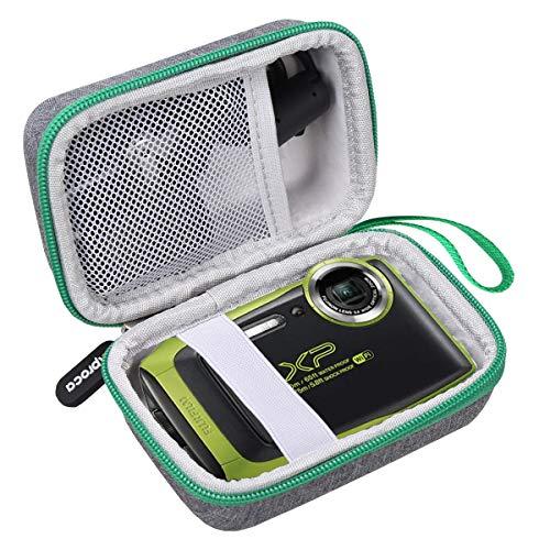 Aproca Duro Viaggio Custodia Per Fujifilm FinePix XP120 130 140 80 90 Fotocamera Digitale (Grey with Green Zipper)