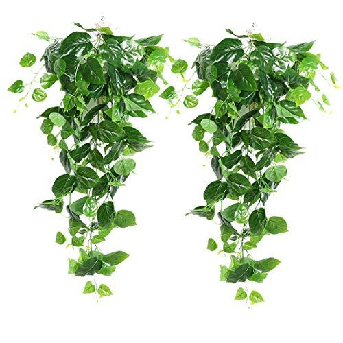 XONOR 2 Stück Künstliche Grüne Hängende Scindapsus Blätter, Gefälschte Ivy Hängende Vine Greenery Girlanden für Hochzeit Hausgarten Wanddekoration, Scindapsus