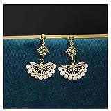 Pendientes Oro de 14k Nota Tejido a Mano Viento Nacional Esmeralda Retro Perla Natural Pendientes en Forma de Abanico Pendientes de botón de Luna