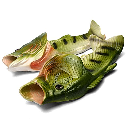 Fisch Hausschuhe Lustige Schuhe Slippers Unisex Anti-Rutsch Strand Besondere Sandalen Dusche Kinder Jungen Mädchen Damen Herren Grün 42/43