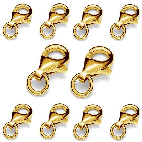 My-Bead 10 piezas mosquetóns 11mm plata de ley 925 chapado en oro 24ct cierres para bisuteria de alta calidad DIY