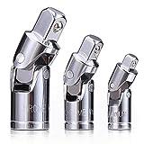3PCS Universal Joint Socket Set, Chrome Vanadium Steel Swivel Socket Adapter Set, 1/4IN, 3/8IN, 1/2IN Drive Universal Joint Set