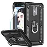 LG Tribute Empire Case,LG Aristo 3/Aristo 2/Rebel 4 LTE/Aristo 2 Plus/Phoenix 4/Tribute Dynasty/Zone 4 Phone Cases with HD Screen Protector, LeYi Magnetic Car Mount Ring Holder Stand Cover, Black