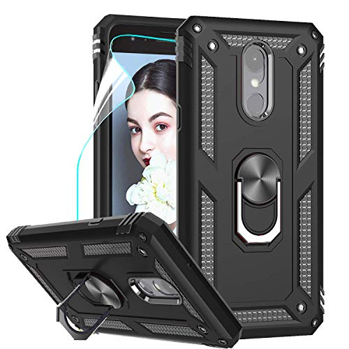 LeYi Compatible for LG Tribute Empire Case, LG Aristo 3/Aristo 2/Rebel 4 LTE/Aristo 2 Plus/Phoenix 4/Tribute Dynasty/Zone 4 Phone Cases with HD Screen Protector with Kickstand, Black