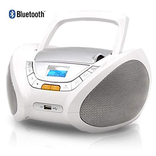 LAUSON CP450 CD-Speler met USB en Bluetooth | Boombox Stereosysteem CD-Radio Draagbaare | Kinderradio met CD en MP3-Speler USB Port | Radio CD-Speler met Hoofdtelefoonaansluiting en Geïntegreerde Speakers (Wit Bluetooth)