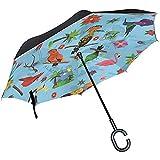 Mike-Shop Parrit Bird Art Inverted Umbrella Compact Windproof Car Reverse UV Protection Travel Umbrellas