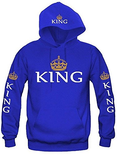 Fashion Long Sleeve King Queen Hoodies Sweatshirt Pullover with Hood, 1 Pcs (US XS = Asia M, King-Blue)