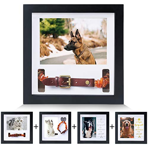 KCRasan Dog Collar Memorial Frame - Solid Wood Pet Memorial Picture Frame - Dog Memorial Gifts for Any Pet Owner or Pet Lover,Sympathy Gifts for Loss of Dog