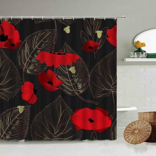 XCBN Fleur Rouge Pavot maïs Pavot Rideau de Douche Plante été Paysage Naturel Salle de Bain occultant Rideaux en Tissu imperméable A8 90x180 cm