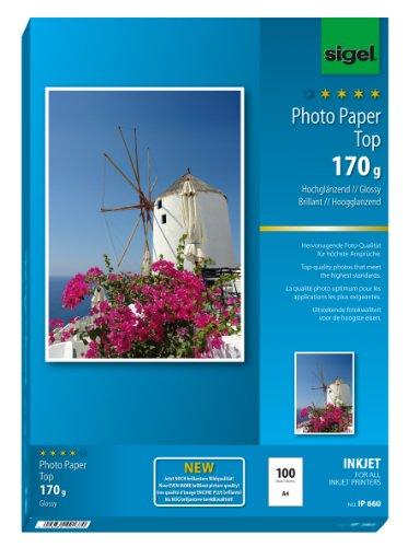 SIGEL IP660 InkJet-Fotopapier Top, A4, 100 Blatt, hochglänzend, hochweiß, 170 g - weitere Stückzahlen