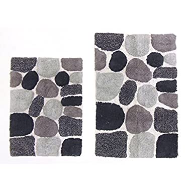 Cotton Craft - 2 Piece Bath Rug Set - Pebbles Stones with Spray Latex Back - Grey Multi - 100% Pure Cotton and absorbent - Super Soft and Plush - Hand Tufted Heavy Weight Durable Construction - Larger Rug is 21x32 Oblong and Second Rug is Oblong 18x24 - Easy care machine wash