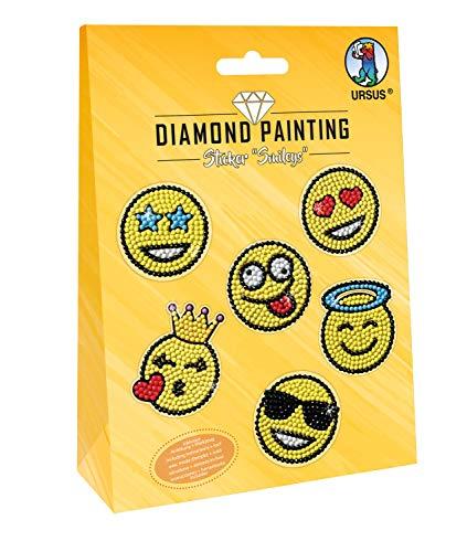 URSUS 43500006 Diamond Painting Smileys, zum Gestalten von Stickern mit funkelnden Diamanten, 2 Stickerbögen 15 x 10 cm, mit verschiedenen Designs, Diamantensteine, Picker, Wachs und Schale, bunt