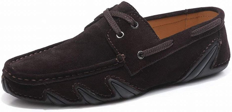 Oudan Fashion Suede Bean shoes Men Casual Driving shoes Comfortable Leather Men's shoes (color   Dunkelbrown, Size   41)