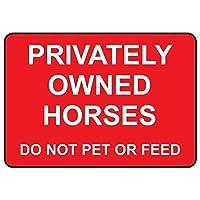 165グレートティンサイン個人所有の馬は、アルミニウムの屋外および屋内サインの壁の装飾をペットまたは餌にしないでください12x8インチ