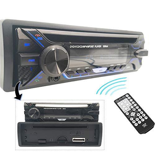 Hengweili 1 Din Autoradio CD Lettore DVD Stereo Ricevitore/Bluetooth FM AUX USB SD MP3 / Pannello frontale staccabile/Telecomando wireless / 12V
