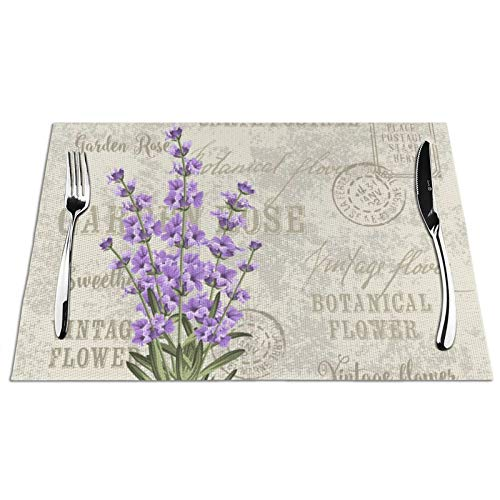 Lavender Flower Placemat Set of 6 PVC Table Mat Purple Floral Table Mats Placemats Non Slip Stain Heat Resistant 12'' X 18'' for Dining Home Kitchen Decor Indoor