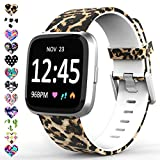 TreasureMax Bands Compatible with Fitbit Versa/Fitbit Versa 2/Fitbit Versa Lite for Women Men,Silicone Fadeless Pattern Printed Replacement Floral Bands for Fitbit Versa Smart Watch