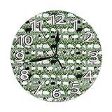 Kncsru Reloj de Pared Redondo Reloj de Pared silencioso sin tictac Raya de Oveja Cocina Interior Decorativa Sala de Estar Oficina Reloj Redondo Moderno Número
