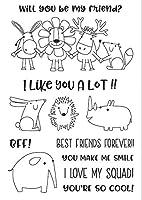 漫画の動物の友達クリアスタンプスクラップブックペーパークラフトクリアスタンプスクラップブッキングX0140