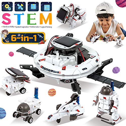 Lucky Doug Space Solar Robot Kit 6 in 1 STEM Science Toys for Kids, Educational DIY Building Kit Gift Toys for 8 9 10 11 12 Year Old Boys Girls Students Teens, Powered by Solar or Battery