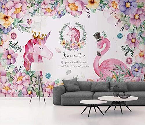 Papel Pintado Murales Cartel Flamenco Unicornio Imágenes Habitación Infantil Tienda De Mascotas Foto Fondo De Pantalla-400Cmx280Cm