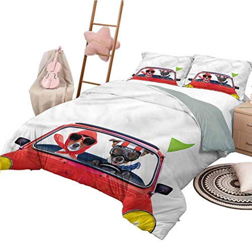 Nomorer Quilt Set with Sheets Full Size Dog Driver Unisex Bedding Set Modern Pattern Printed Jack Russell Couple