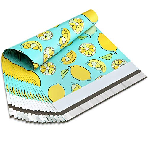 UCGOU 12x15.5 Inch Lemon Designer Poly Mailers 2.35MIL Shipping Envelope Mailers Boutique Custom Bags Pack of 100
