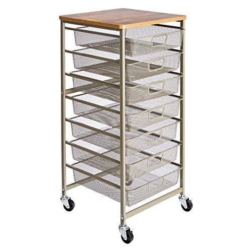 AmazonBasics Rolling Storage Cart and Organizer with 7 Metal Mesh  Drawers